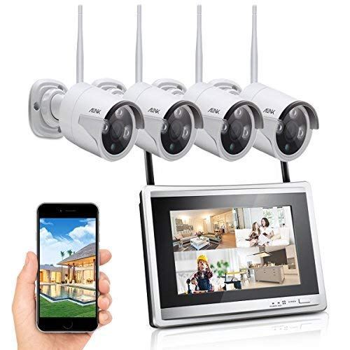 Ailink 4CH HD 960P Home Security Camera System, Wireless 11.5″ LCD Monitor Video Recorder with Night Vision Outdoor Indoor Surveillance System