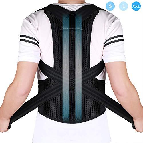 Back Brace Posture Corrector Pain Relief for Lumbar & Back Support Shoulder and Clavicle Lower Upper Back, Adjustable and Breathable Back Brace Improves Posture and Provides Back Support, Men Women L