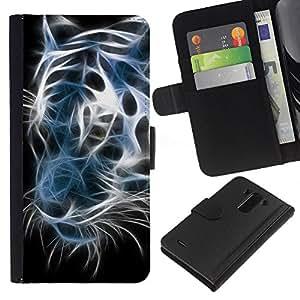 All Phone Most Case / Oferta Especial Cáscara Funda de cuero Monedero Cubierta de proteccion Caso / Wallet Case for LG G3 // Iridescent Tiger Black White Neon