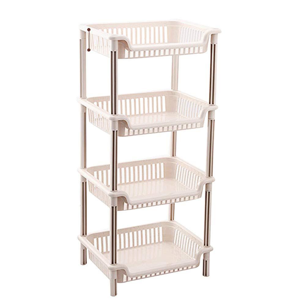 4 Tier Bathroom Shelving Plastic Resin Shelf Storage Rack Freestanding Organizer for Home Kitchen Living Room Bedroom Laundry Office, Easy to Assemble, Beige