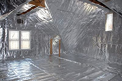 NASATECH Residential House Radiant Barrier 48x250 1000 square feet roll Reflective Aluminum Breathable Perforated Waterproof Attic Roof Foil Insulation BLOCKs 99% Heat & RF Signals SCIF RFID