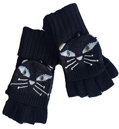 Kate Spade Cat Pop Top Gloves/Mittens, Black