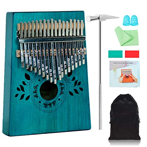 keland Kalimba 17 Keys Thumb Piano with Study Instruction and Tune Hammer, Portable Mbira Sanza Mahogany Wood Finger Piano, Musical Instrument Gifts for Kids Adult Beginners (Blue)