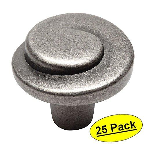 (25 Pack - Cosmas 775WN Weathered Nickel Cabinet Hardware Swirl Knob - 1-1/4