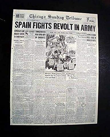 Amazon com: SPANISH CIVIL WAR Begins Rebellion MADRID Spain