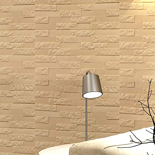 Clearance! PE Foam 3D Wallpaper Beige Wall Decor Embossed Brick Stone Adhesive DIY Wall Stickers for Decor