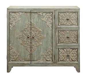 Pulaski P017171 Weathered Green 3 Door Home Bar Cabinet, Wine Storage