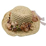 Felice Girl kids Foldable Straw Sunhat Crochet Garland Parent-Child Beach Sun Visor Cap with Removable Floral Headband Beige Small for Children