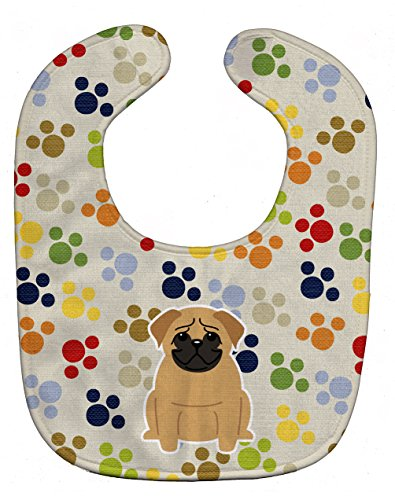 Caroline's Treasures BB5836BIB Pawprints Baby Bib, Pug Brown, Large -