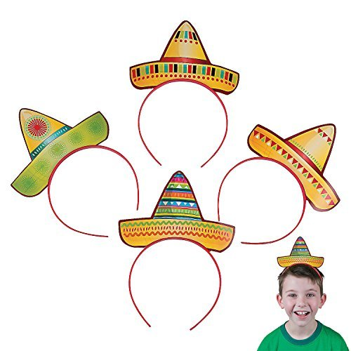 Fun Express Sombrero Party Hat Headbands Fiesta Party Favors - 12 pieces by Fun Express