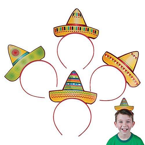 Fun Express Sombrero Party Hat Headbands Fiesta Party Favors - 12 pieces