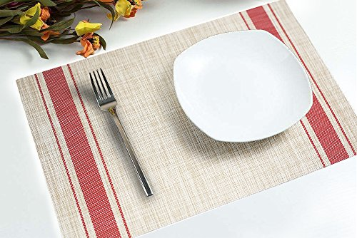 DACHUI Placemats, Heat-resistant Placemats Stain Resistant Anti-skid Washable PVC Table Mats Woven Vinyl Placemats, Set of 4 (Red) by DACHUI (Image #5)