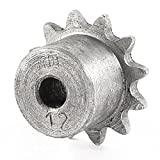 "Uxcell a14040900ux0373 Single Row 12 Teeth Pilot 1/4"" Bore Chain Drive Sprocket Wheel 6x27mm, Stainlesssteel"