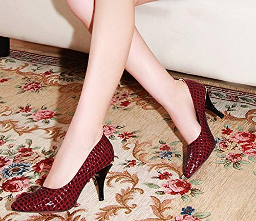 8cm Escarpin Femme Façon Club Aisun Belle Python Rouge Talon Haut wISZ6q87