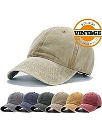 407864bdcd9 Unisex Vintage Washed Distressed Baseball-Cap Twill Adjustable Dad-Hat