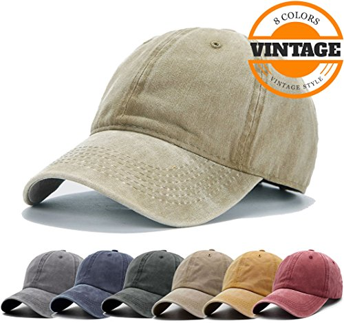 Unisex Vintage Washed Distressed Baseball Cap Twill Adjustable Dad Hat,B-khaki,One Size