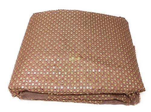 (Inhika Women's Fabric Cotton Mix Fabric, 5.5 Yard Saree Dress Material, Muave Colour, Embroidery n Sequins Work   Vestido de Tela Material Mujer por el Metro para Coser)