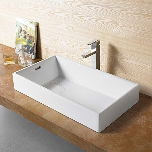 Bathroom Ceramic Vessel Porcelain Sink Pop Up Drain 78195 & Free Chrome Pop Up Drain