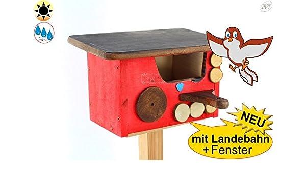 Invierno Pájaros Nido cabaña de protección + Bayern de diseño, mitad cueva con apertura de unos 50 x 80 mm para petirrojo, valla König, mirlo, también como protección cabaña nistplatz, Rojo Barnizado