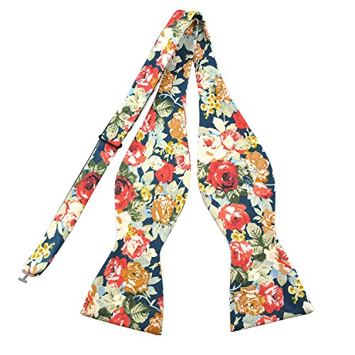 (PenSee Mens Self Bow Ties Floral Pattern Printed Cotton Bowtie - Various)