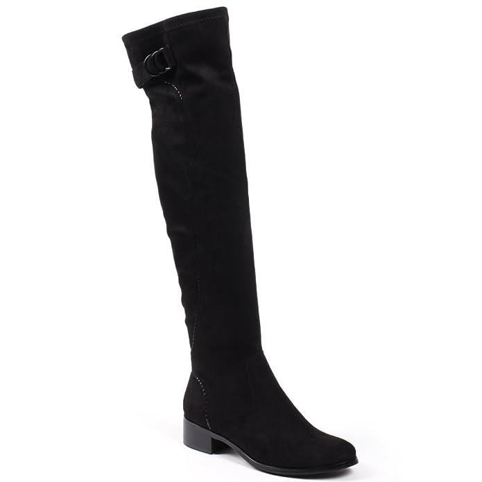 Ideal Shoes - cuissarde effetto camoscio con cinghia Andie, nero (nero),  41: Amazon.it: Scarpe e borse