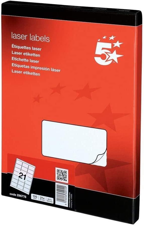 5 Star Addressing Labels Inkjet 21 per Sheet 63.5x38.1mm White 2100 Labels
