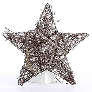 Factory Direct Craft 12 Natural Sparkling Rattan Twig Stars for Indoor Decor