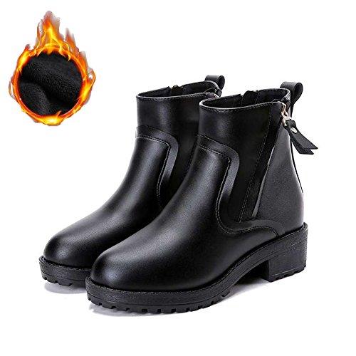 Btrada Women's Winter Warm Zip Martin Boots - Anti Slip Chunky Heel Fur Liners Basic Ankle Booties ()