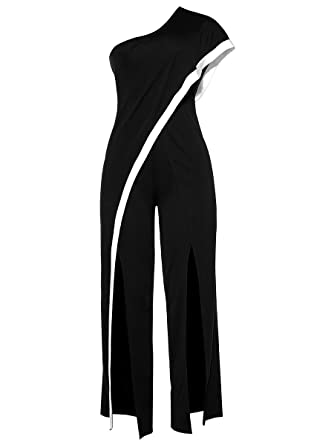 36a7a19d7b0 Amazon.com  Women s Sexy One Shoulder Ruffles High Waist Split Wide Leg  Long Pants Jumpsuits Rompers  Clothing