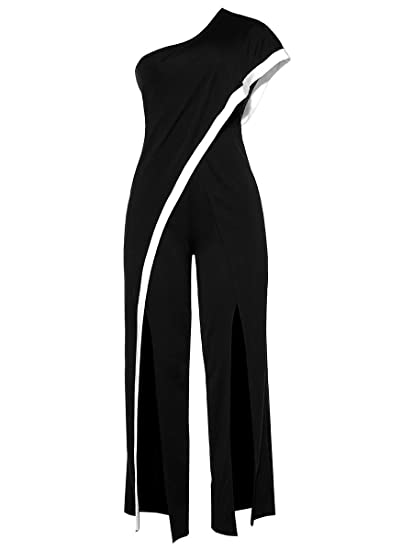 7017aa20c1e Amazon.com  Women s Sexy One Shoulder Ruffles High Waist Split Wide Leg  Long Pants Jumpsuits Rompers  Clothing