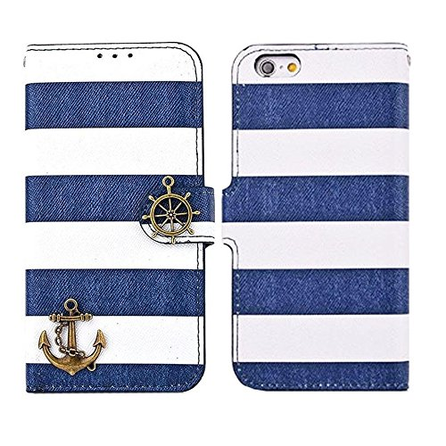 iPhone 6 Case, iPhone 6s Case, TabPow Navy Blue Stripes Anchor Flip Wallet PU Leather Case [with Card Slots & Magnetic Flap Closure] Stand Case Cover For Apple iPhone 6 / iPhone 6s (4.7 inch)