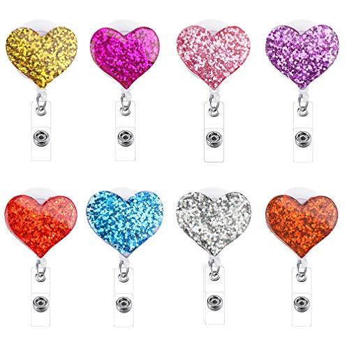GAUSKY 8PCS Retractable Badge Holder Reel Clip Heart ID Nurse Work Badge Reel Card Holders