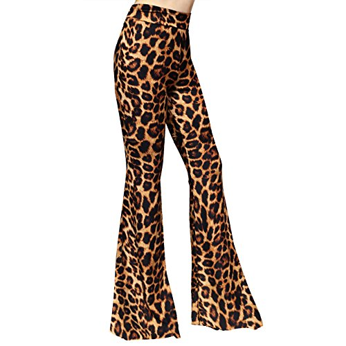 SMT Women's High Waist Wide Leg Long Bell Bottom Yoga Pants Medium Camel Leopard ()