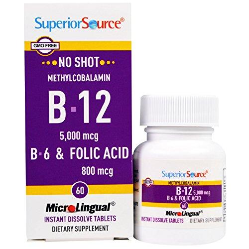 Superior Source, Methylcobalamin B12 5000 mcg, B-6 & Folic Acid 800 mcg , 60 MicroLingual Tablets - 3PC by Superior Source