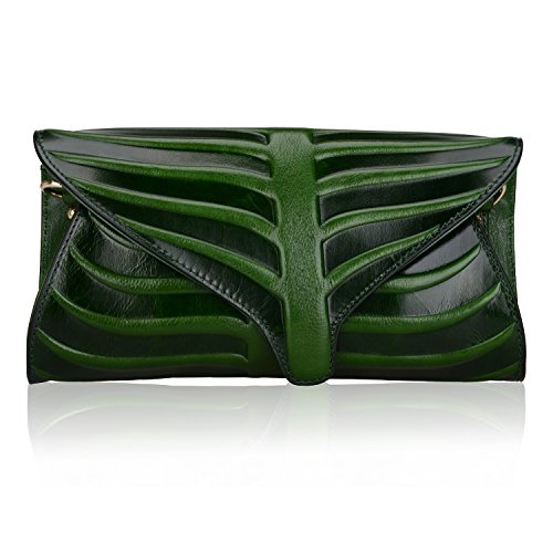 Pijushi Leaf Designer Handbags Embossed Leather Clutch Bag Cross Body Purses 22290 (One Size, Green) by PIJUSHI