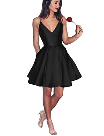 Elleybuy Womens A Line Spaghetti Straps V neck Short Homecoming Cocktail Dresses US2