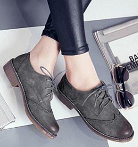 Brogues Top Women's Classic Oxfords Up Chunky Low Gray Heels Low IDIFU Lace Hznqa8ax
