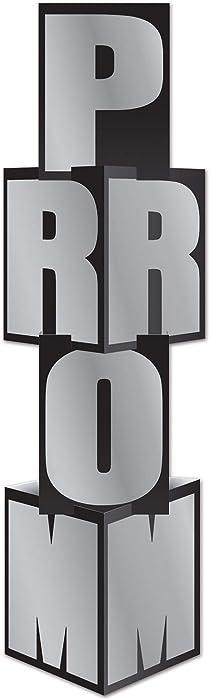 "Beistle Prom Column, 12"" x 3' 9"", Black/Silver"