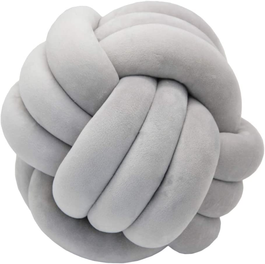 FLORAVOGUE Knot Ball Plush Throw Pillow -Cute Toy Gift Home Bed Room Couch Decor Office Sofa Decoration (Light Gray)