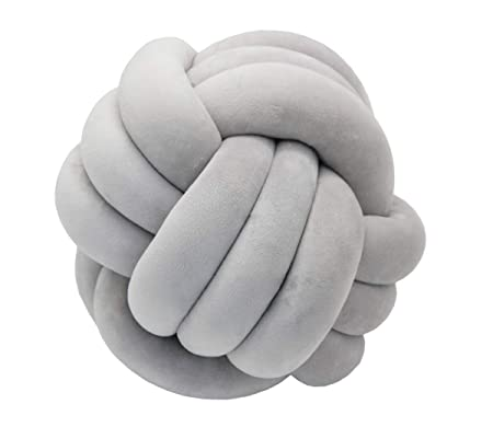 FLORAVOGUE Knot Ball Plush Throw Pillow -Cute Toy Gift Home Bed Room Couch Decor Office Sofa Decoration Light Gray