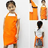 Interesting® Children Kids Plain Apron Kitchen Cooking Baking Painting Cooking Craft Art Bib-Orange