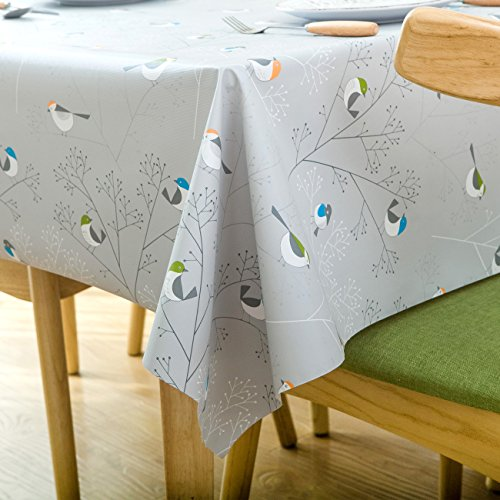 LOHASCASA Square Vinyl Oilcloth Tablecloth Water Resistant/Oil-proof Wipeable PVC Heavy Duty Plastic Tablecloths for Kitchen Small - Bird Silver Grey 54 x 54 Inch