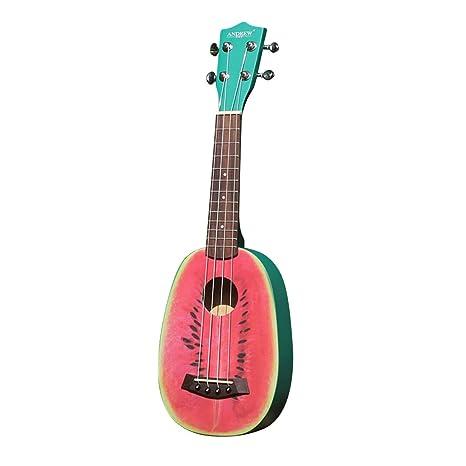Olprkgdg Andrew21 Ukelele sandía de Dibujos Animados Pulgadas para Principiantes Hawaii pequeña Guitarra de Cuatro Cuerdas