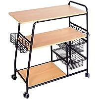 1208S Kitchen Storage Cart Serving Cart Bar Cart on Wheels with Storage Rack, 3-Tier