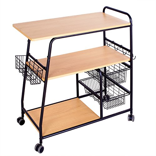 Four Basket Pull Out Pantry - 1208S Rolling Kitchen Carts Kitchen Trolley Island Cart with Storage Baskets