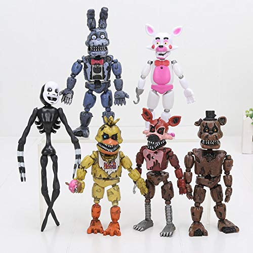 PAPEO Set 6 FNAF Action Figures 4.5-7 inch Hot PVC Figure Toy Small Toys Mini Model Figurine Statue Christmas Halloween Birthday Gift Collectible Fazbear for Kids Adults