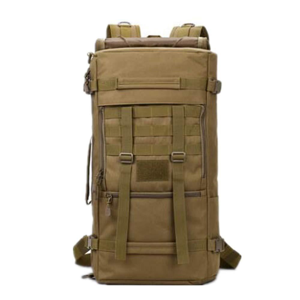 60L Wolf brown LargeCapacity Hiking Backpack Shoulder Bag, Black, 50L
