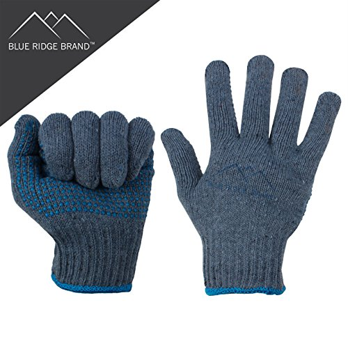 Blue Ridge BrandTM Natural Cotton Work Gloves - Dozen General Purpose PVC Dot Glove - Abrasion Resistant Rubber Grip Gloves - Men's Work Gloves 12 Pack