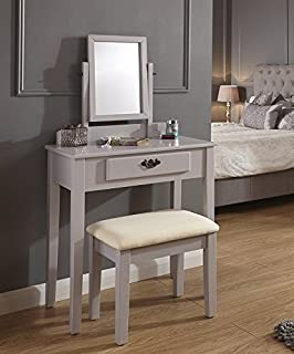 Home Source Dressing Table Set With Padded Dresser Stool/Adjustable Mirror  And Drawer, MDF
