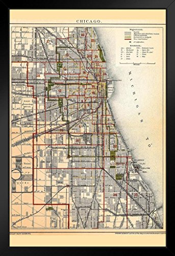 (City of Chicago Illinois Historic Antique Style Map Framed Poster 14x20 inch)
